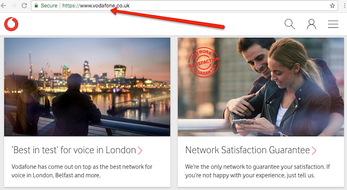 Vodafone main homepage