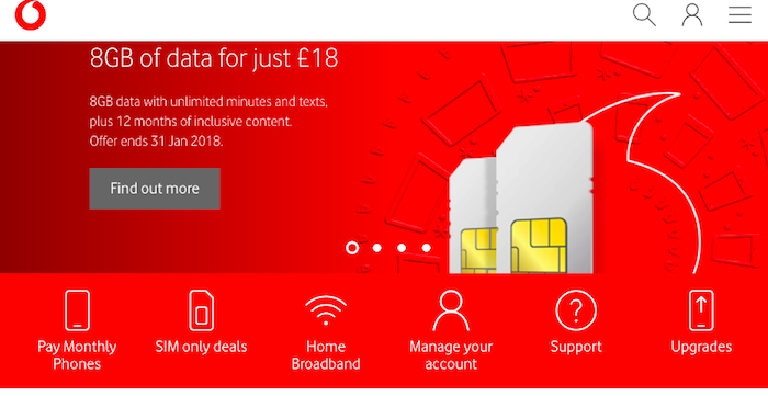 Vodafone UK 8gb of data