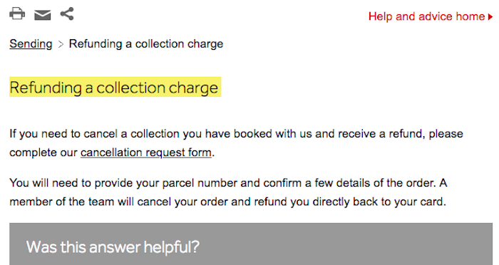 Parcelforce refund