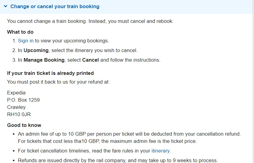 Expedia UK Train Tickets Number