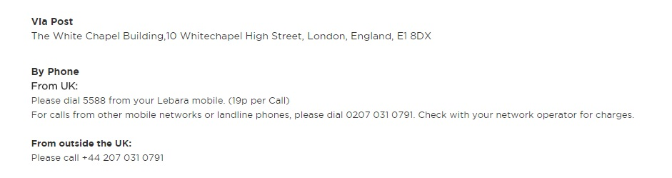 Lebara customer service - UK Contact Numbers