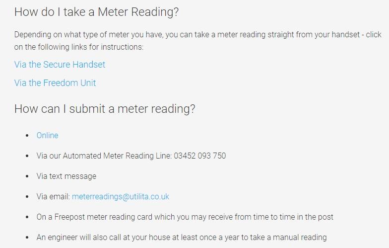 Utilita Energy meter reading submission