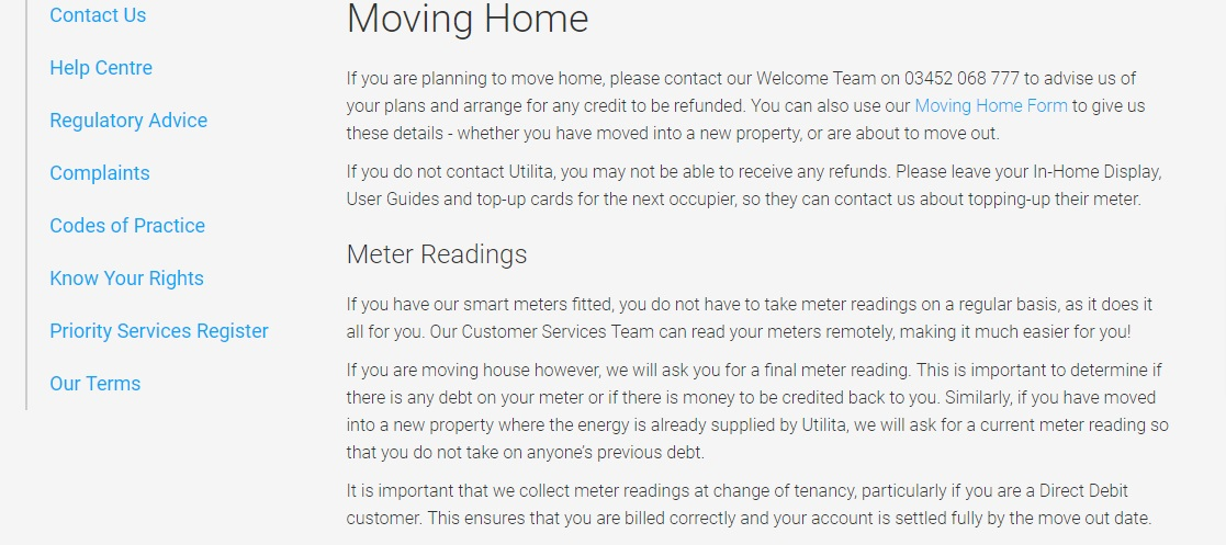 Utilita Energy moving house department