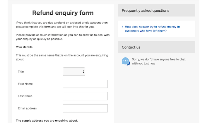 NPower refund enquiry form
