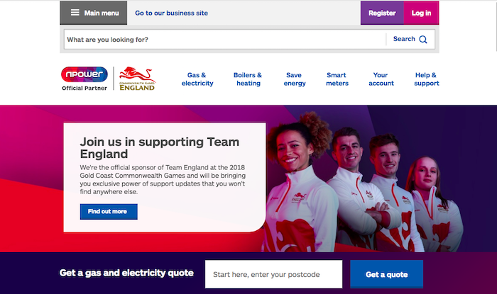 NPower home page