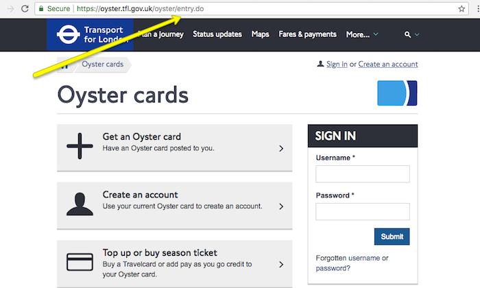 Oyster TFL Website