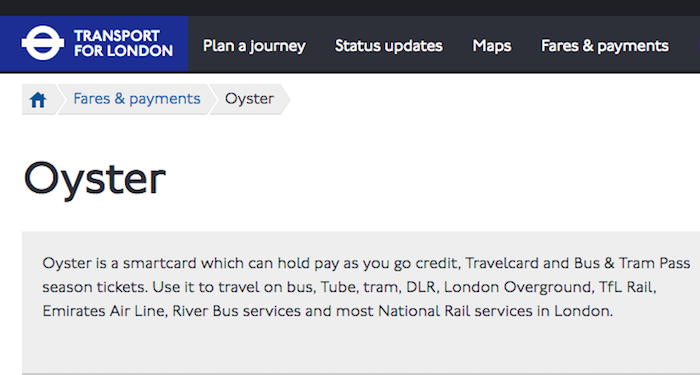 Oyster smartcard page
