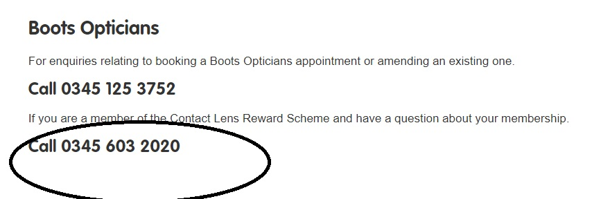 Boots UK contact lens reward scheme