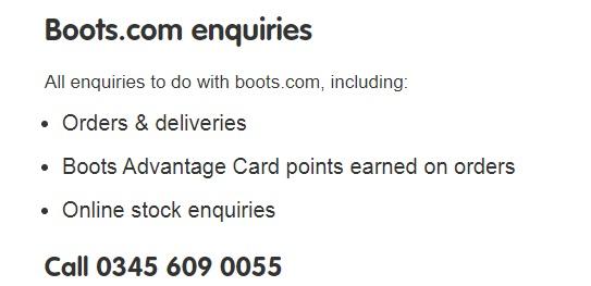 Boots UK online help