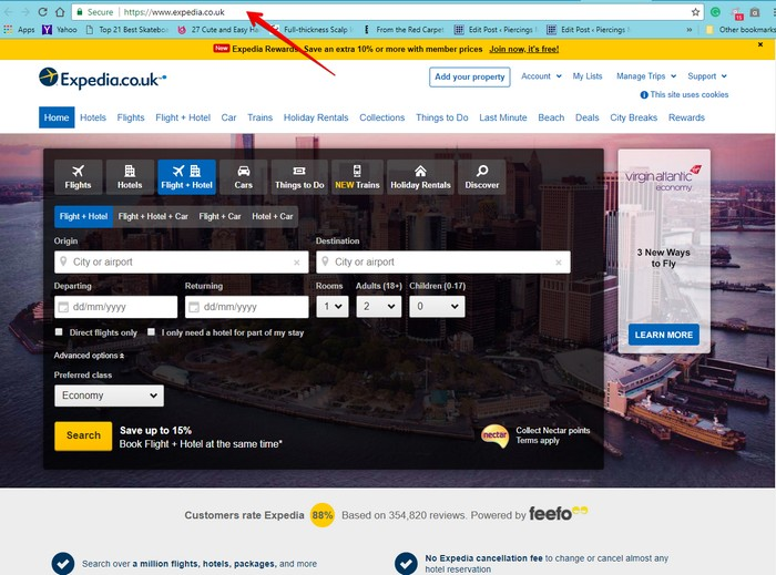Expedia Website name