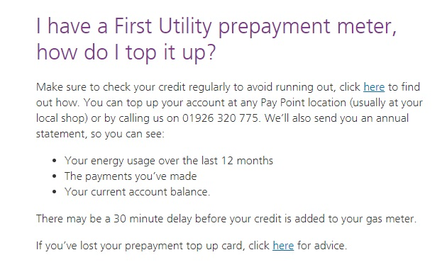 First Utility Prepayment Topup contact