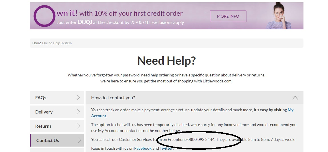 Littlewoods customer service