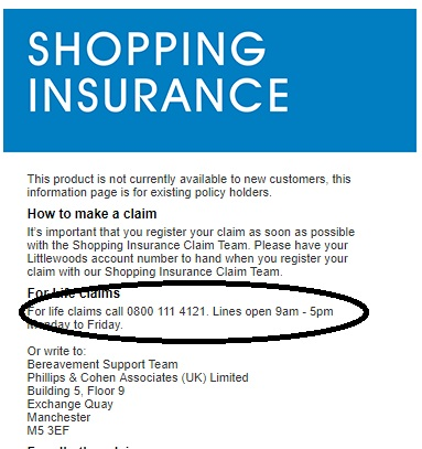 Littlewoods shopping insurance claim