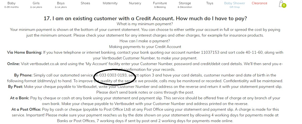 Vertbaudet credit account service number