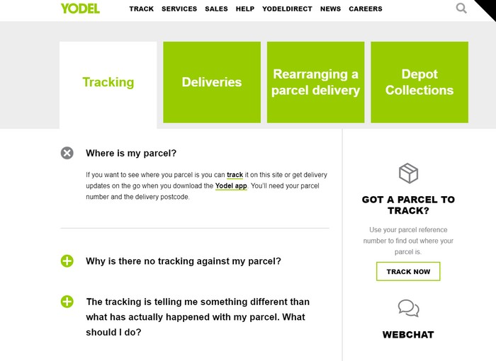 Yodel help tracking