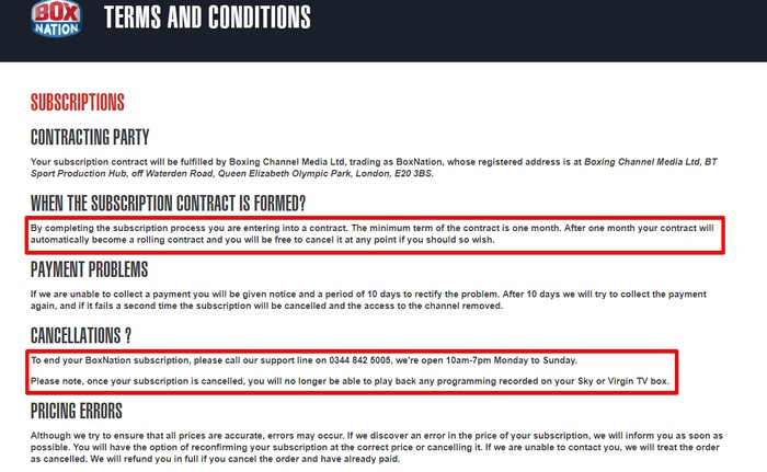 BoxNation terms and conditions