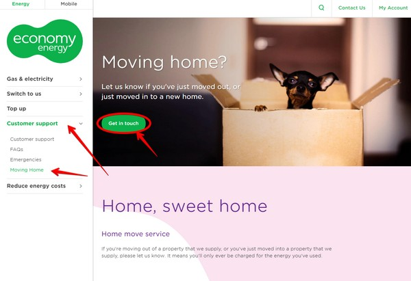 Economy Energy - moving home