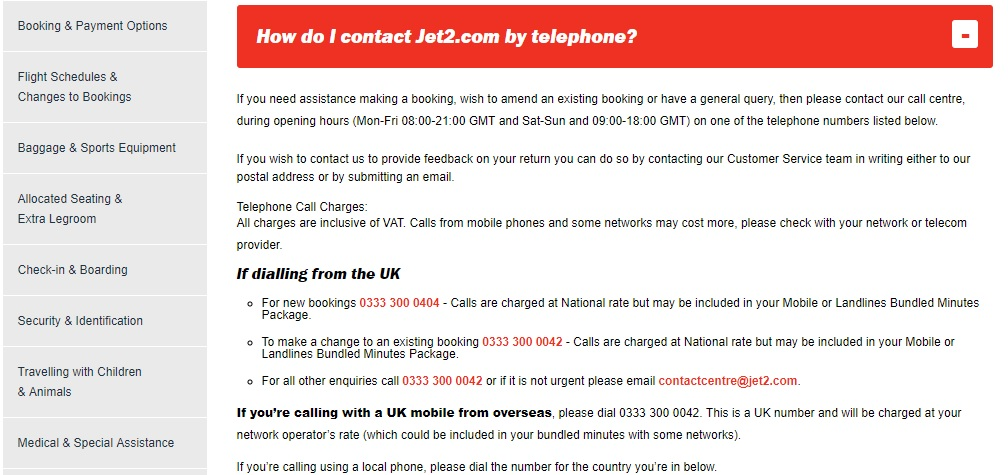 Jet2 Customer Service number