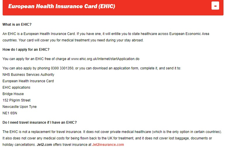 Jet2 EHIC card number