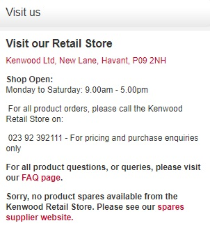 Kenwood UK retail store