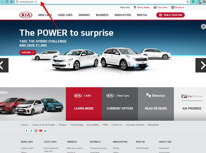 Kia main Website