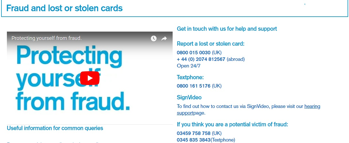 TSB helpline lost card