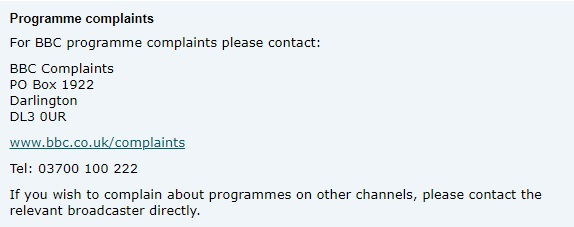 TV LIcensing contact number complaints