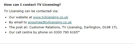 TV Licensing customer support