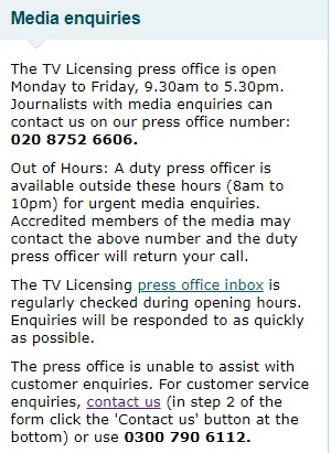 TV Licensing press office contact