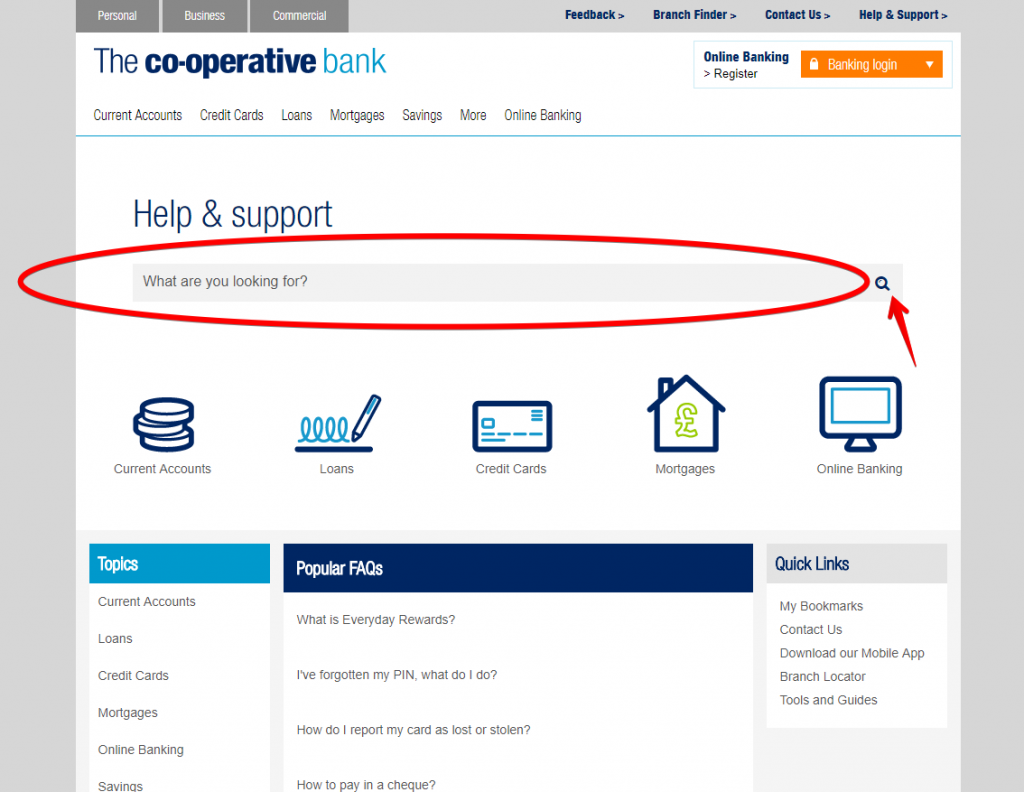 The Cooperative Bank UK help