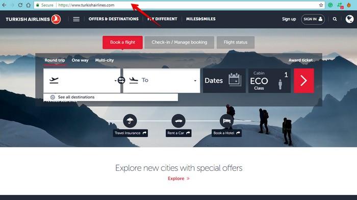 Turkish Airlines main website