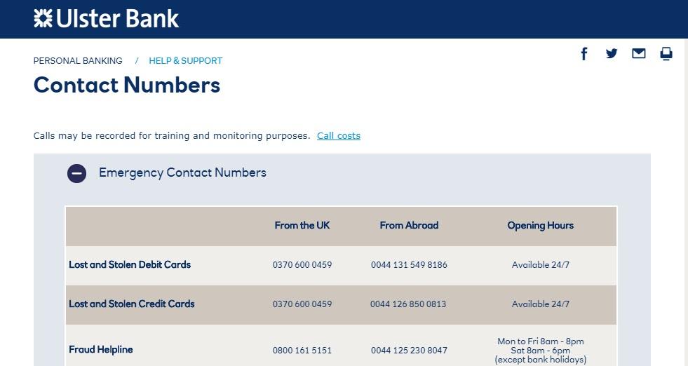 Ulster Bank UK Emergency contact