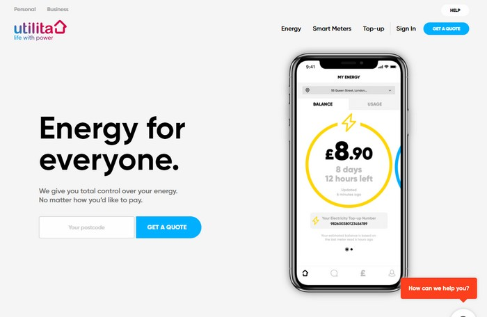Utilita Energy website