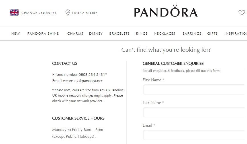 Pandora customer service