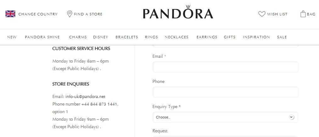 Pandora store enquiries