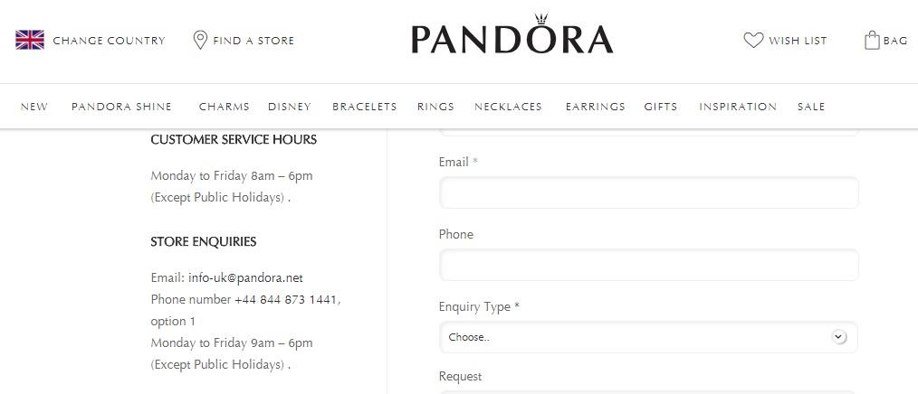 Pandora store enquiries