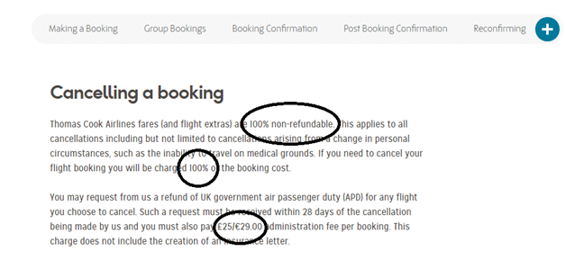 Thomas Cook Cancel a booking charges