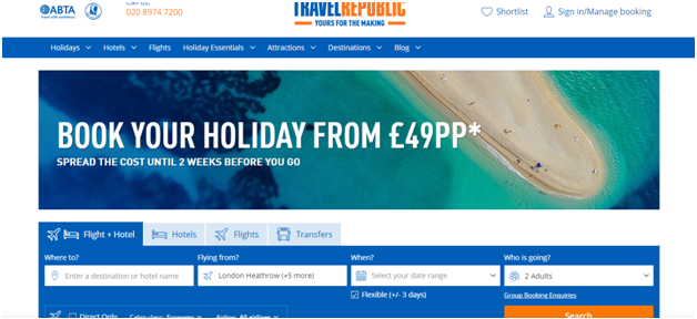 Travel Republic home page