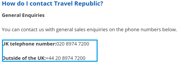 Travel Republic telephone numbers