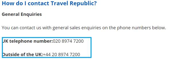 Travel Republic telephone numbers
