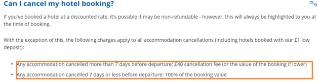 Travel republic hotel booking cancellation charges