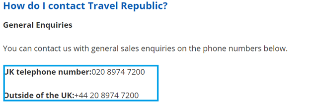 Travel Republic telephone numbers - UK Contact Numbers