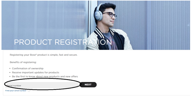 Bose UK product registration page