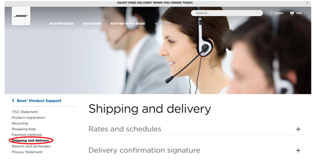 Bose UK shipping and delivery website page