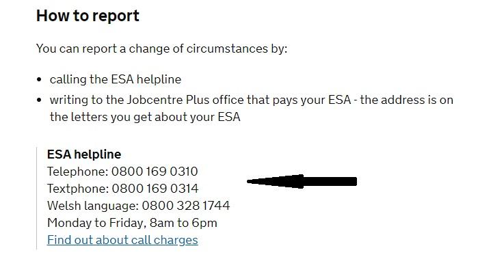 ESA helpline UK