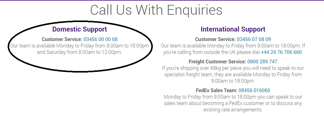 FedEx customer contact telephone number