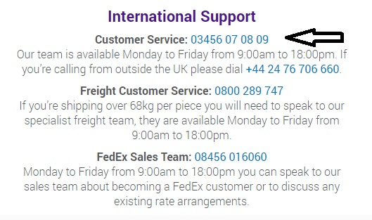 FedEx international customer care