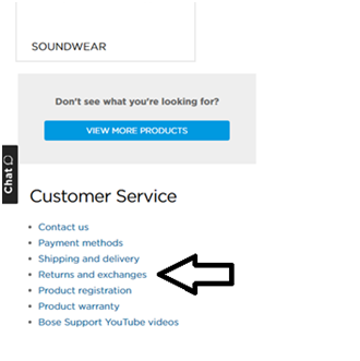 Bose Returns and exchanges web page