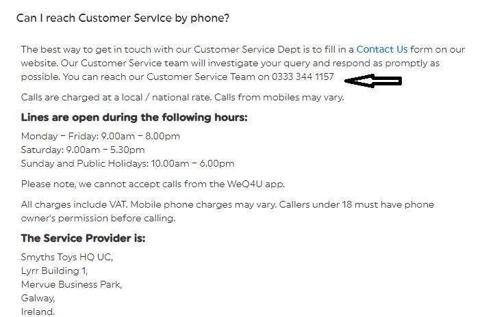 Smyths customer service