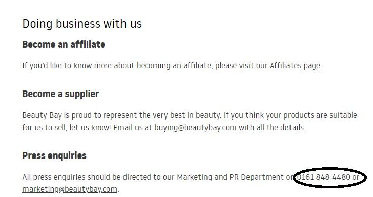 Beauty Bay customer service number